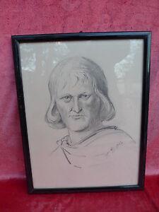 Sublime, Vieux Image __Portrait__ Bleistift-Zeichnung__ Signé : V. D.1937 _