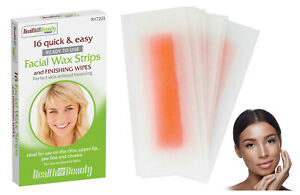 16 Facial Wax Strips & Finishing Wipes Face Bikini Chin Waxing Lip Hair Removal