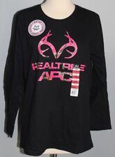 New Ladies REALTREE APC Long Sleeve Shirt Black & Pink LARGE Hunting Tee Womens