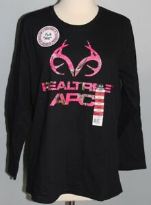New Ladies REALTREE APC Long Sleeve Shirt Black & Pink LARGE Hunting Tee Womens
