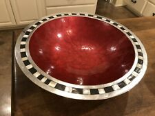 "Julia Knight 15"" Round Serving Bowl Mother Pearl & Onyx Enamel Swirl Pomegranate"