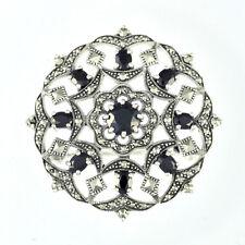 Esse Marcasite Sterling Silver Black Spinel Fancy Flower & Garlands Round Brooch