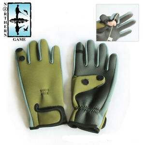 Olive Green 2mm Neoprene Fishing Gloves With Fold Back Finger and Thumb