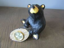 Bear Foots Jeff Flemming Bear on Log Clock Figurine