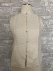 Eileen Fisher Size PS Ivory Silk Mandarin Blouse Vest Knot Buttons Sleeveless