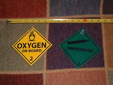 2 scuba gas warning signs : 1 Compressed Gas and 1 Oxygen car display Hazchem
