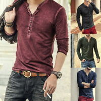 Mens Henley T-Shirts Long Sleeve V Neck With Button Slim Fit T-Shirts LOVE
