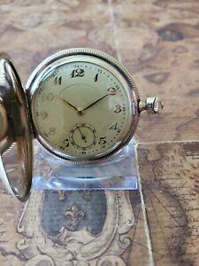 schöne Junghans Gold Double Taschenuhr mit Kaliber 17 Uhrwerk Kronenbügel fehlt