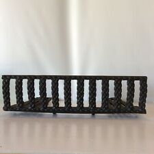 Antique 1900's Cast Iron Fireplace Fence Fender Gate 20 Inch Unique ROPE Design