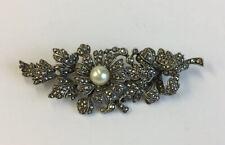 Flower Brooch 6cm In Width Vintage Solid Silver Marcasite & Pearl