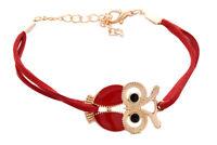Eule Armband Armreif Armkette bracelet Dekor -Rot K6D2 N1M