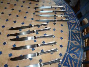 guy degrenne 10  beaux couteaux manches sculptés perlé inox 24cm qualité france