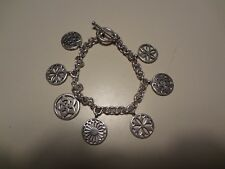 #149 VINTAGE STERLING SILVER CHARM BRACELET-925-VERY OLD AND SOLID