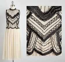 Custom Ivory Black Vintage 1920 Flapper Gatsby Downton Abbey Fringe Bead Dress