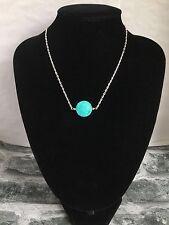 17 inches Silver Plated Semi Precious Stone Turquoise Pendant Necklace