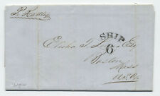 1854 stampless ship letter Boston from Valparaiso Chile [45.262]