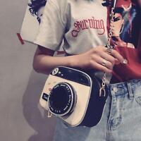 Women Camera Shape Cross Body Bag Small Handbag Zipper Adjustable Long Strap Q