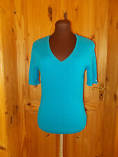 COUNTRY CASUALS cyan blue ribbed knitted short sleeve tunic top v neck S 8-10 38