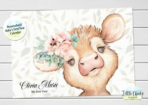 Cow Baby's First Year Calendar, Personalized Calendar for baby