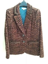 Boden Blue Lined Jacket/Blazer Velvet Dark/Light Brown Tiger/Zebra Print SZ UK12