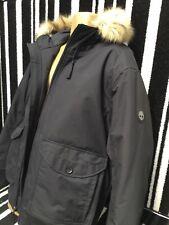 Timberland Black Parka Jacket Hooded Fur Trim 🇬🇧 XXL Waterproof £230 Free P&P