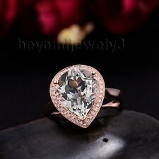 Real 14Kt Rose Gold Diamond Natural Pear 10x12mm Green Amethyst Gemstone Ring