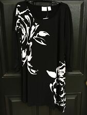 New Chico's Knit Kit Abstract Rose Black White Tunic Top Shirt Sz 3 XL 16 18 NWT