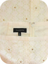 Talbots Flowered Eyelet & Gold Beaded Skirt 10 Off White Lined Knee Length