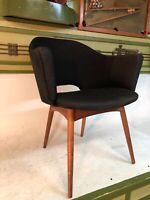 Vintage Mid Century Modern MCM Danish Modern Wood Black Scoop Curvo Bucket Chair