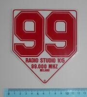 ADESIVO VINTAGE STICKER 99 RADIO STUDIO 105 MILANO ANNI'80 11x13 cm BELLO E RARO