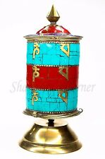 "AWESOME Buddhist Prayer Wheel Desk Brass Stone Coral Lapis Turquoise 9"" STUNNING"