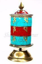 "AWESOME Buddhist Prayer Wheel Desk Brass Stone Coral Lapis Turquoise 9"" STUNNING"