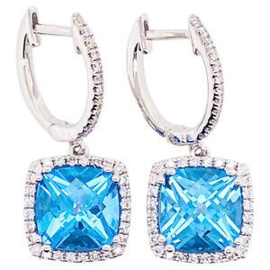 2.00ct Natural Round Diamond Blue Topaz 14K Solid White Gold Dangler Earring