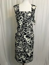 Cartise Womens Dress Black and White Floral Sleeveless Open Back US Sz 8 NWT