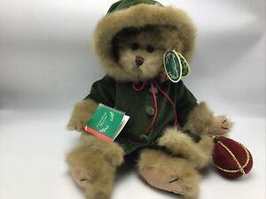 "Bearington Bears ""Decorating the Tree"" Plush Bear Green Velvet 2002 NWT Xmas"
