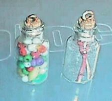 2 Dollhouse Glass Cannister Miniatures About One Inch Tall