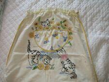 Vintage Hand Embroidered Hankie Laundry Bag - Kitties