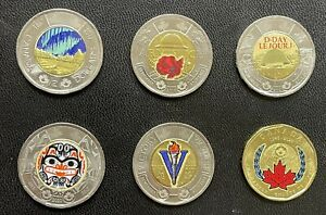 Lot of 6 Different Colour Toonies And Loonies from 2017 to 2020