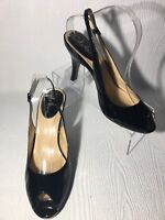 Cole Haan women's slingback cuban heel pumps peep toe black leather Size 10B