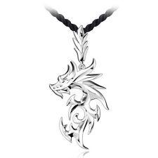 Silber überzogene Edelstahl-Drache-Anhänger Männer Halskette mit Leder-Kette NEU
