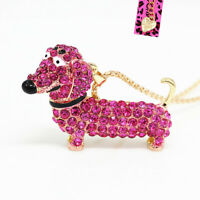 Betsey Johnson Crystal Rhinestone Dachshunds Dog Pendant Chain Necklace Gift