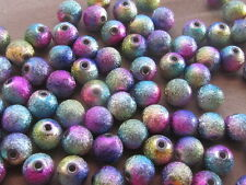 25 Stardust Purple Aqua Blue Green Metallic 8mm Acrylic Beads(K15B31)