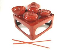 ANTIQUE JAPANESE WOOD RED LACQUER  DISH SET FOR BABY GIRL OKUIZOME FIRST MEAL