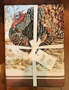 """NWT Williams Sonoma Autumn Plymouth Turkey Tablecloth 70' x 90"""""""