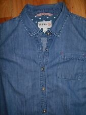 Blouse Denim FEED Womens LARGE 14-16 Shirt Blue Top USA 6m46