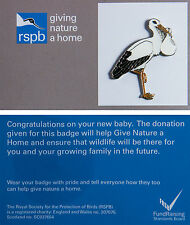 RSPB Pin Badge | Stork carrying napkin | Celebratory - bringing baby [00556]