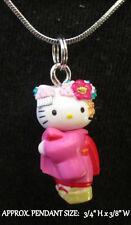 Geisha Girl Necklace Pink Kimono Handmade Steel Chain