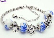 One New Handmade Beautiful Charm Bracelet European Style Porcelain beaded S-A39