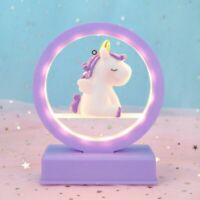 Musical Unicorn Night Light Round Dreamy Horse Cute Girls Bedroom Decoration