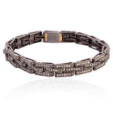 14kt Gold Pave Diamond Link Bracelet 925 Sterling Silver Handmade Men's Jewelry